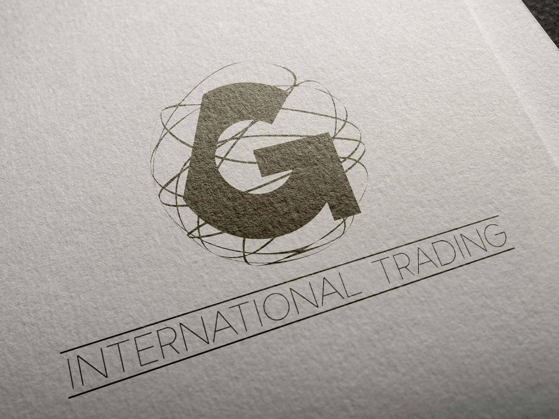 Aplicación en papel del logotipo en negativo de G International Trading